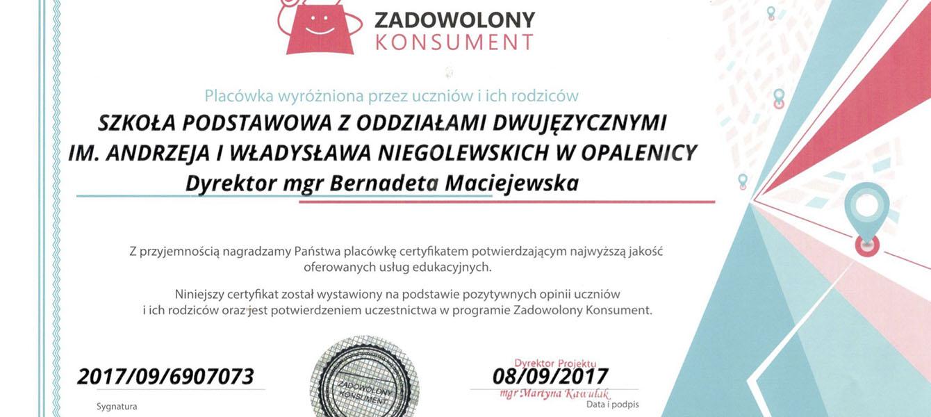 Certyfikat ZADOWOLONY KONSUMENT dla naszej szkoły