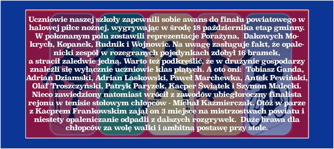 Awans drużyny chłopców do finału powiatowego w halowej piłce nożnej