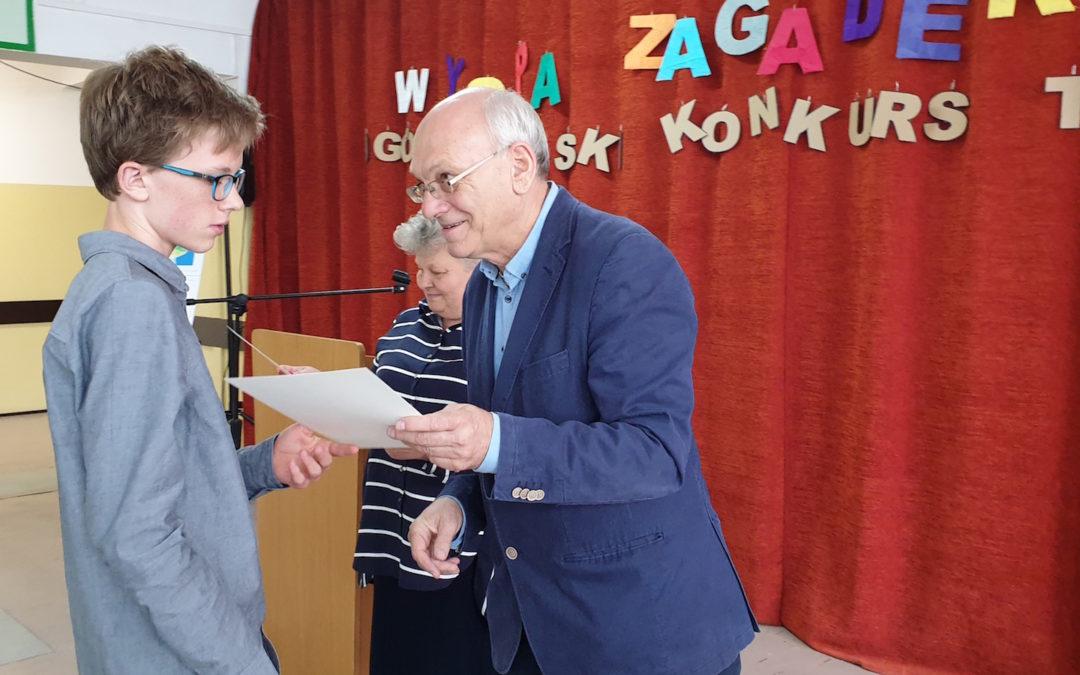 Makary Andrzejczak  w Gdyni podczas 19. Ogólnopolskiego Konkursu Twórczego Używania Umysłu WYSPA ZAGADEK 2019
