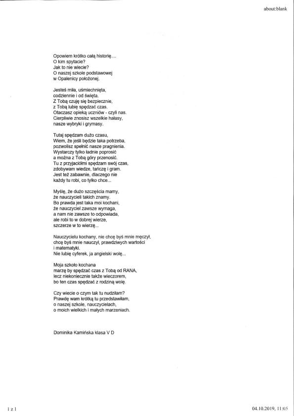 Konkurs Literacki Sp Opalenica