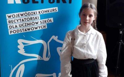 Zuzanna Pasiciel w finale Wojewódzkiego Konkursu Recytatorskiego