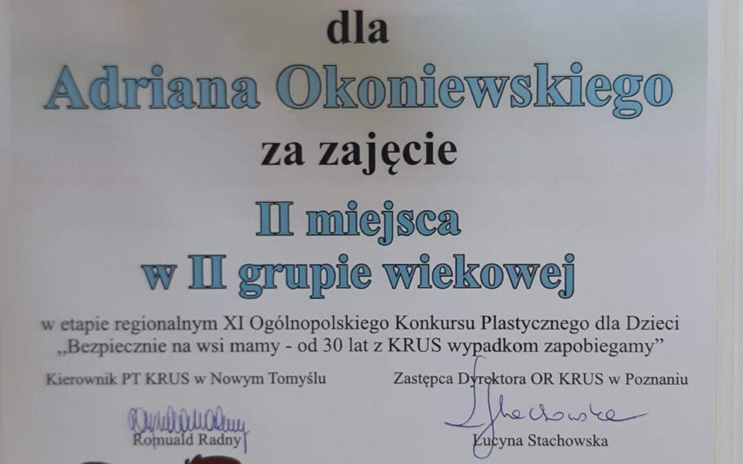 II miejsce Adriana Okoniewskiego w plastycznym konkursie powiatowym