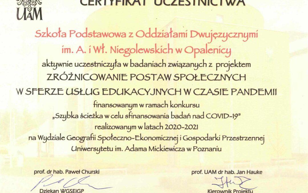 Certyfikat dla szkoły